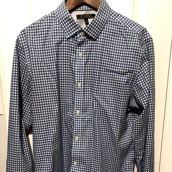Blue and White Checked Dress Shirt